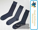 Cotton Rich Grey Stripe 3Pk. Sock - Hugh McElvanna Menswear