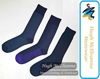 Cotton Rich Purple Half Stripe 3Pk. Sock - Hugh McElvanna Menswear
