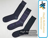 Cotton Rich Purple Stripe 3Pk. Sock - Hugh McElvanna Menswear