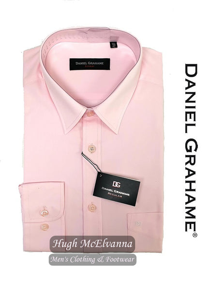 Plain Pink Long Sleeve Formal Shirt by Daniel Grahame Style: 15300/26