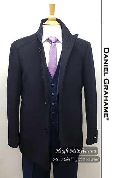 Navy Fashion Overcoat by Daniel Grahame - Hugh McElvanna Menswear