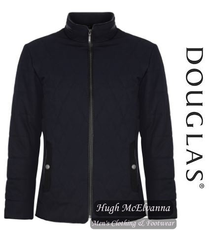 'HARDY' Navy Quilted Jacket By Douglas - Hugh McElvanna Menswear