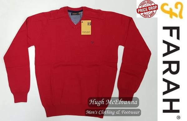 Farah V/N Cotton Pullover FAGS5089/613 Chilli Red - Hugh McElvanna Menswear