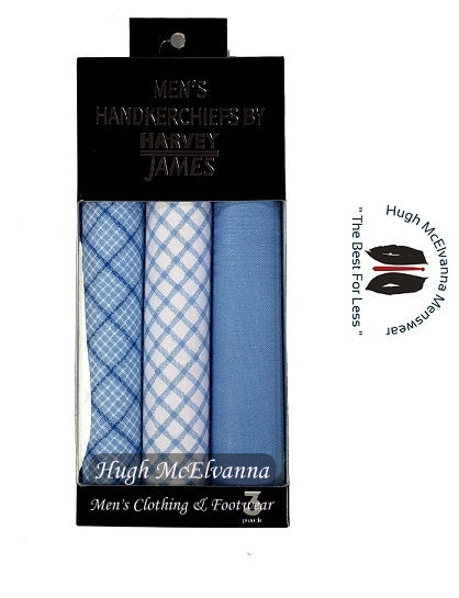 3Pk Boxed Coloured Hankie Gift Set - 3 Colour Options