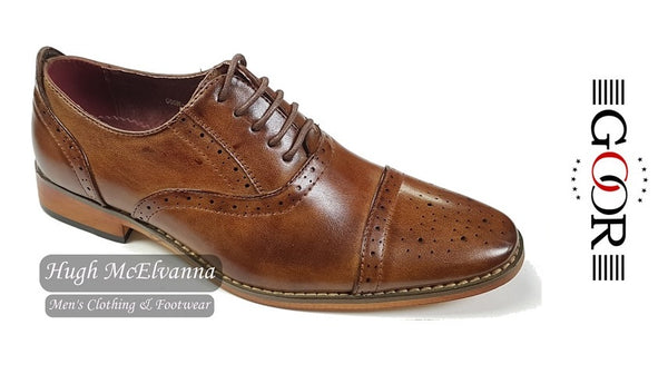 Boys Tan Laced Brogue by Goor Style: 990