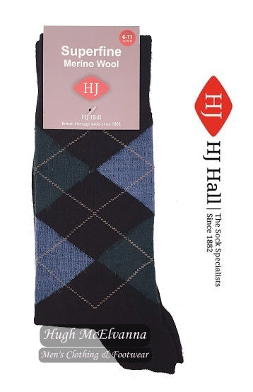 Superfine Merino Wool Argyle Socks Style HJ138 - 3 Colour Options