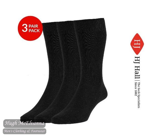 Executive Black Plain Knit 3 Pair Pack Socks Style: HJ7116/3