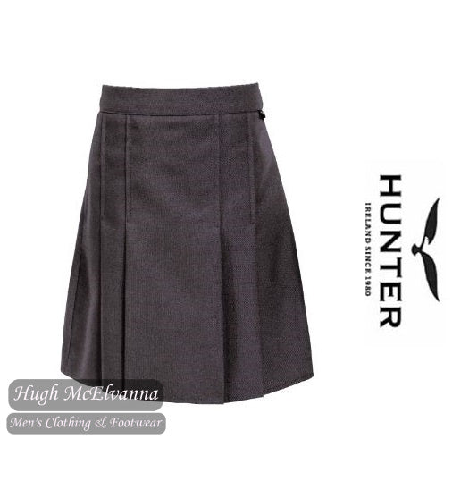 Grey Boxed Pleat Elastic Backed Skirt by Hunter Style: T20