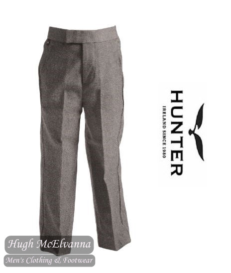 Grey Mock Fly Elastic Waist Trousers by Hunter Style: 241