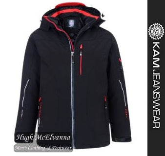 Black Padded Soft Shell Jacket by Kam Jeanwear Style:  KV59