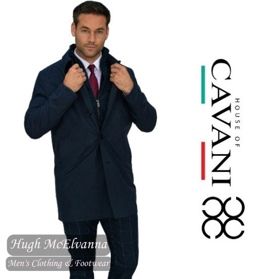 'BRANDON' Navy Mac Coat with Zip Insert by House Of Cavani