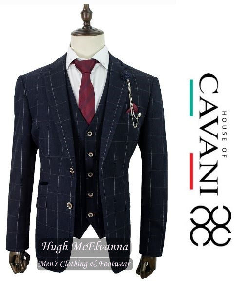 'ANGELS' Charcoal Grey Check 3Pc Suit by House Of Cavani