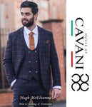 'KERBER' Navy Tweed Skinny Fit 3Pc. Fashion Suit By House Of Cavani