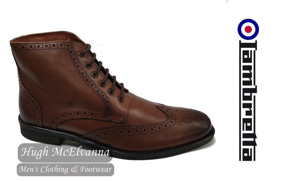 Laced Brogue Boot by Lambretta Style FLEET - Hugh McElvanna Menswear