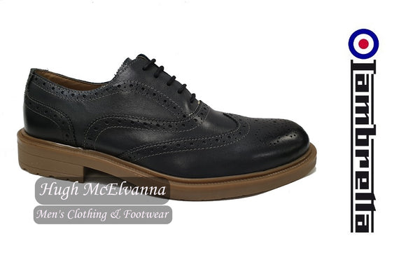 Grey Laced Gibson Brogue shoe by Lambretta - Hugh McElvanna Menswear