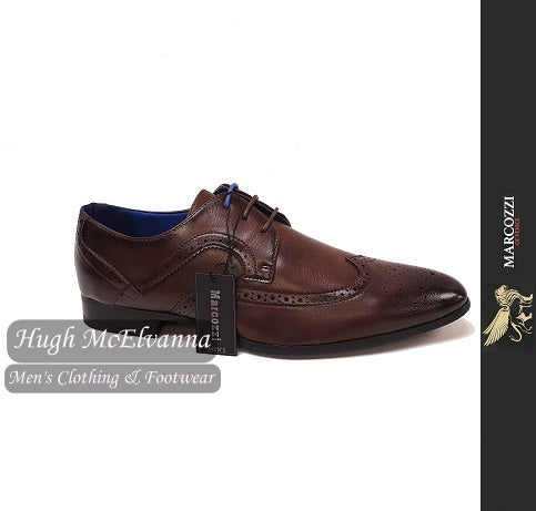 Dark Brown Laced Brogue Shoe By Marcozzi Style: BERLIN - Hugh McElvanna Menswear