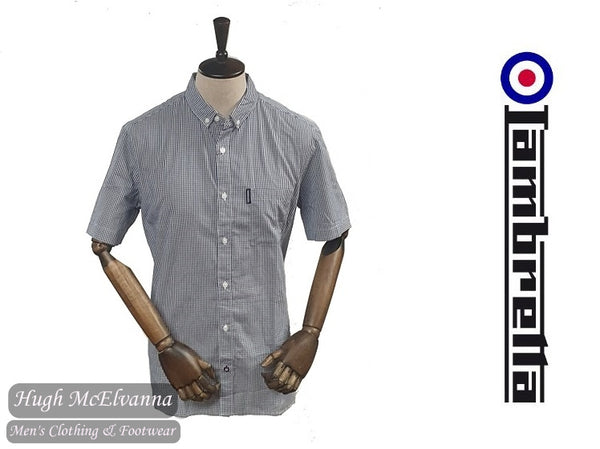 Lambretta Navy Gingham Check Short Sleeve Shirt Style: RWIS1160