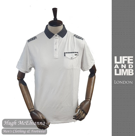 Stretch White Fashion Polo by Life & Limb Style; 5508SO