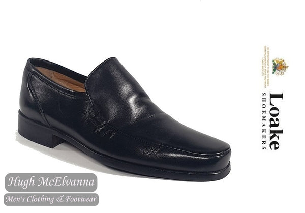 Loake Black Slip On Leather Loafer Shoe Style: BELLUNA