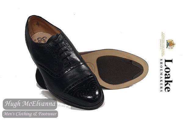 Loake Black Laced Brogue Shoe Style: PEEBLES