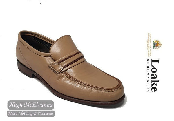 Loake Cream Slip On Leather Loafer Shoe Style: ROME