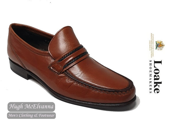 Loake Tan Slip On Leather Loafer Shoe Style: ROME