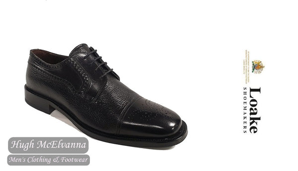Loake Black Deer Skin Leather Laced Shoe Style: STOW