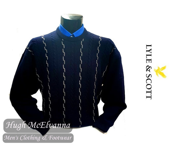Pure Wool Navy Cable Design Front Round Neck Pullover by Lyle & Scott Style: 51790P01