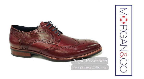 Burgundy Laced Shoe by Morgan & Co. Style MGN0706 - Hugh McElvanna Menswear
