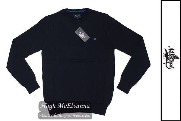 'ARIANA' Navy Cotton Crew Neck Pullover by Mineral Style: ML351082