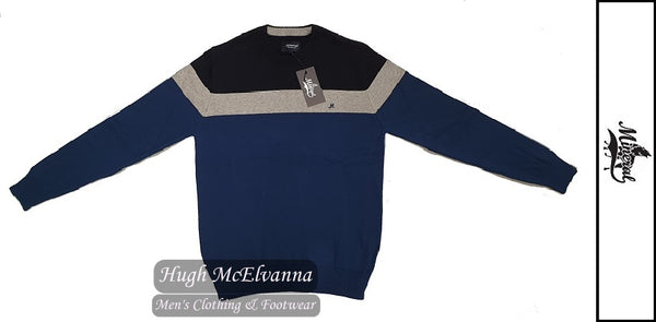 'ISLONA' Navy Stripe Crew Neck Pullover by Mineral Style: ML351196