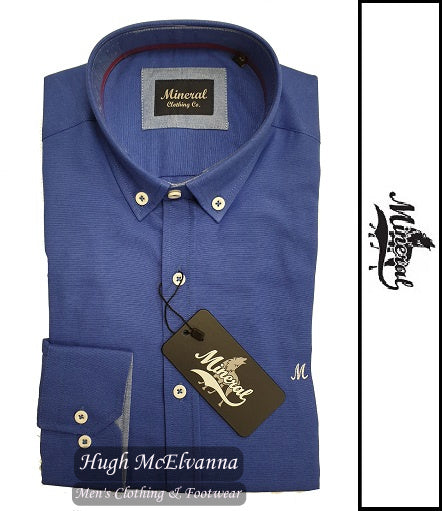 'LOLLAND' Dark Blue Cotton Rich Oxford Shirt by Mineral Style: ML251114