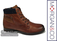 Cognac Zip Boot by Morgan & Co. Style: MGN0990