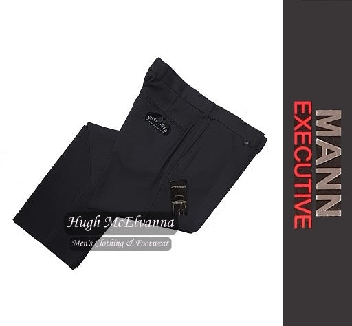 Charcoal Stretch Waist Trouser by Mann Executive Style: Laird - Hugh McElvanna Menswear