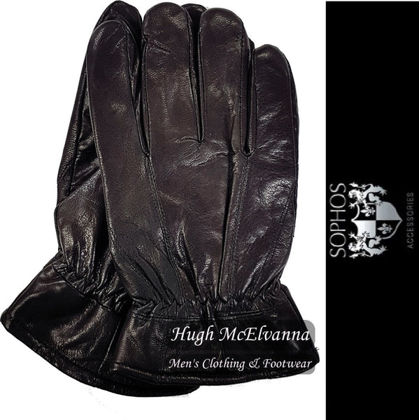 Men's Black Lambs Skin Leather Glove by Sophos - Hugh McElvanna Menswear