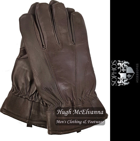 Men's Brown Lambs Skin Leather Glove by Sophos - Hugh McElvanna Menswear