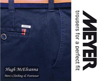 Blue 'OSLO' Organic Cotton Travel Trouser by Meyer Style: 5552/17