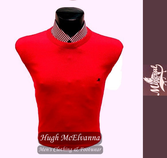 'ARIANA' Sofia Red Cotton Crew Neck Pullover by Mineral Style: ML351082