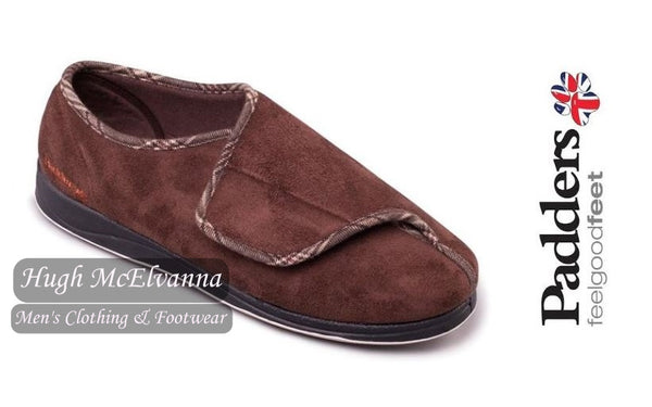 Velcro Brown PLUS FIT Slipper Style: Chris