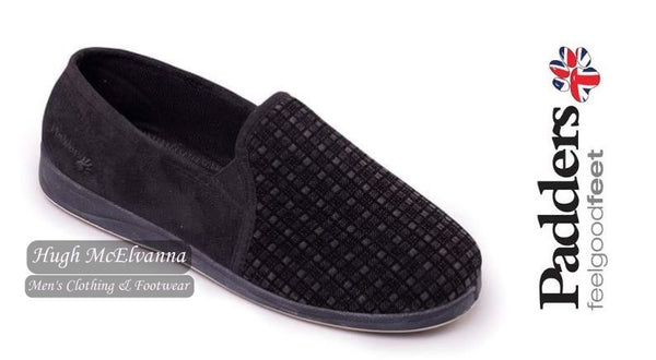 Men's Black Check Slipper With Memory Foam Insole by Padders Style ALBERT - Hugh McElvanna Menswear