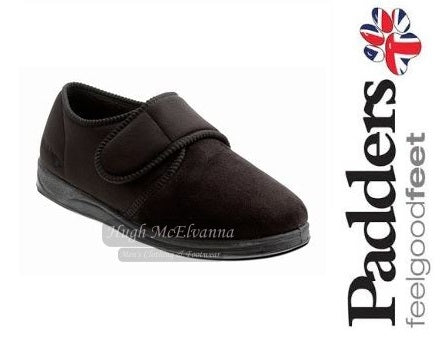 Men's Black Velcro Slipper With Memory Foam Insole by Padders Style CHARLES - Hugh McElvanna Menswear