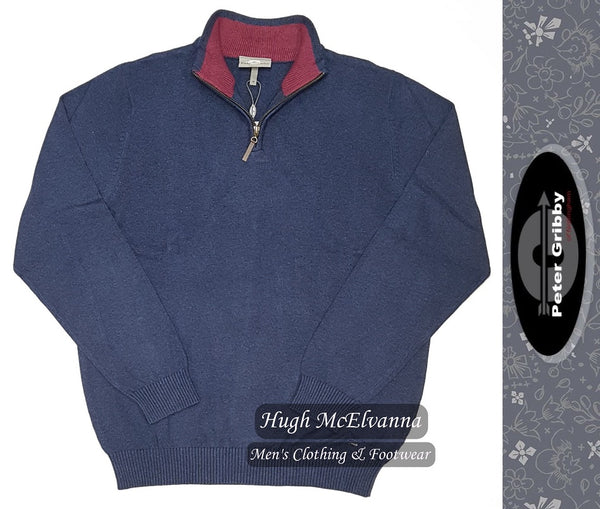Cotton Round Zip Pullover by Peter Gribby Style: PK18221 - 2 Colour Options Available - Hugh McElvanna Menswear