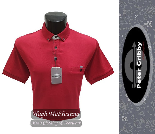 King Size Red Jersey Polo Shirt by Peter Gribby Style: PJ19126 - Hugh McElvanna Menswear