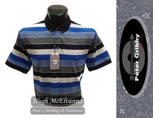 Navy Stripe Jersey Polo Shirt by Peter Gribby Style: PJ19127 - Hugh McElvanna Menswear