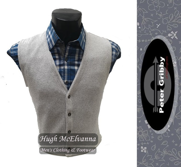 Cotton Waistcoat by Peter Gribby Style: PK18105 Silver - Hugh McElvanna Menswear