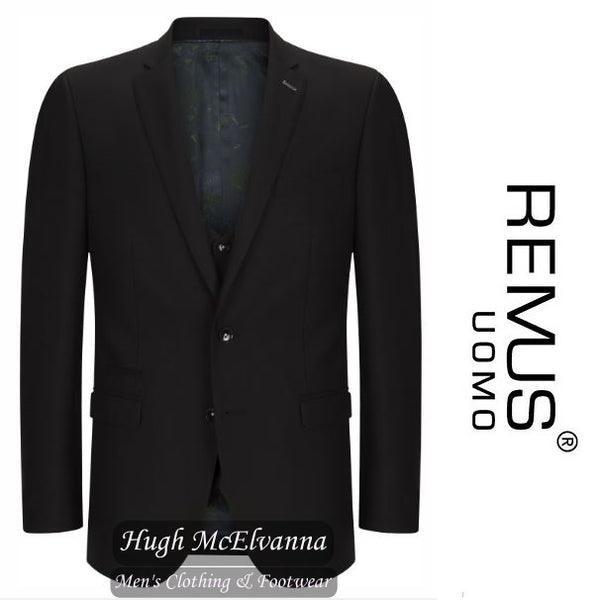 Remus Uomo Black Slim Fit 2Pc. Suit Style: 20742/00