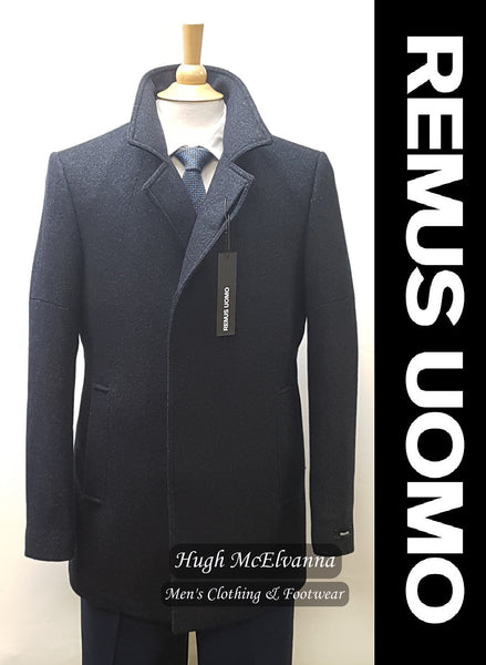 Navy Fashion Overcoat by Remus Uomo Style: 90214/29 - Hugh McElvanna Menswear