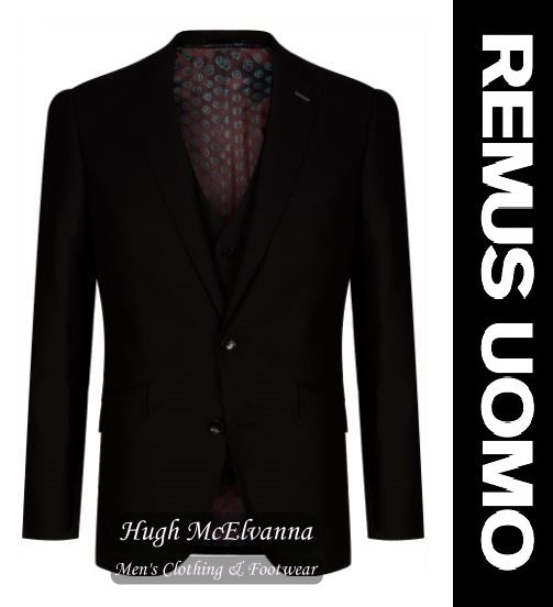 3Pc. Tapered Fit Black Remus Uomo Suit Style No: 30743/00