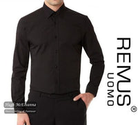 Black Remus Uomo Tapered Fit Shirt Style: 18300/00 - Hugh McElvanna Menswear