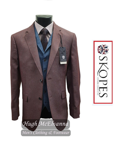 Jacket Textured Fabric Berry Colour by Skopes Style: ALESSANDRO - Hugh McElvanna Menswear